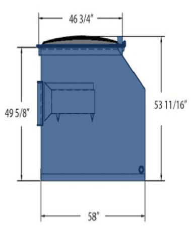 Picture of 4 cubic-yard front-load dumpster with dimensions