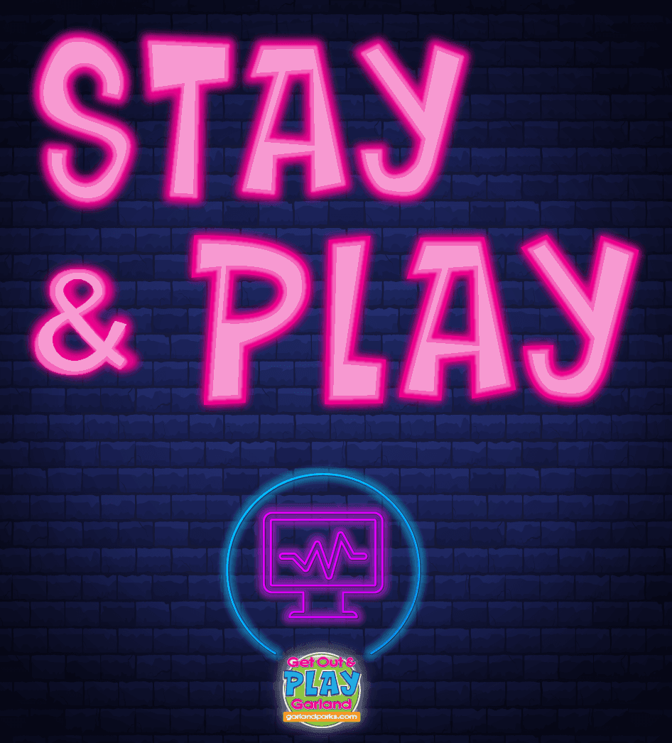 Stay and PLAY virtual recreation text in pink neon with Play Garland icon center align for instagram